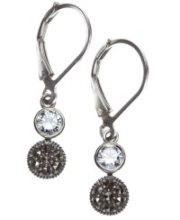 Judith jack Earrings, Marcasite And Crystal Double Drop in ...