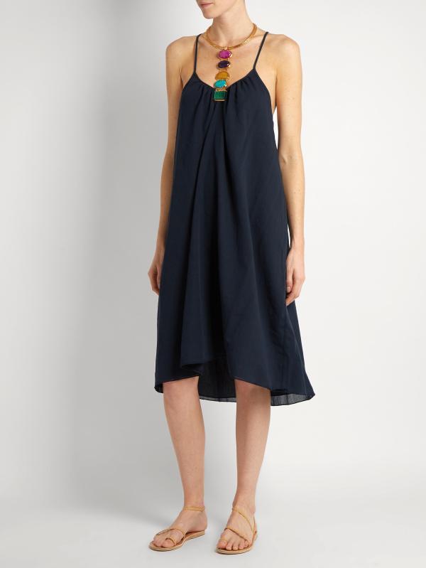 Lyst - Loup Charmant Cross- Cotton Slip Dress In Blue