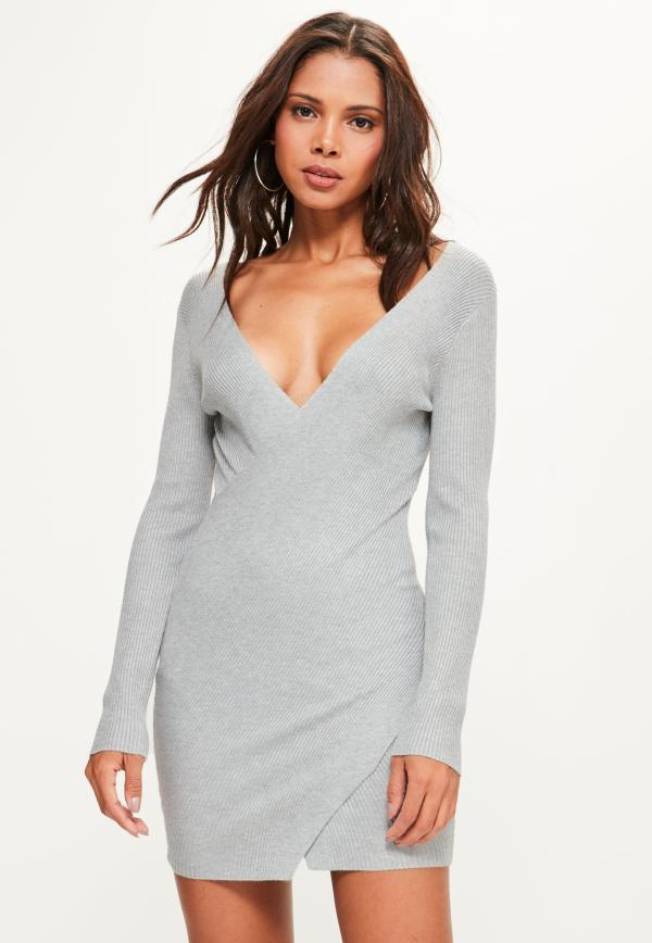 Missguided Grey Ribbed Wrap Over Mini Knitted Jumper Dress