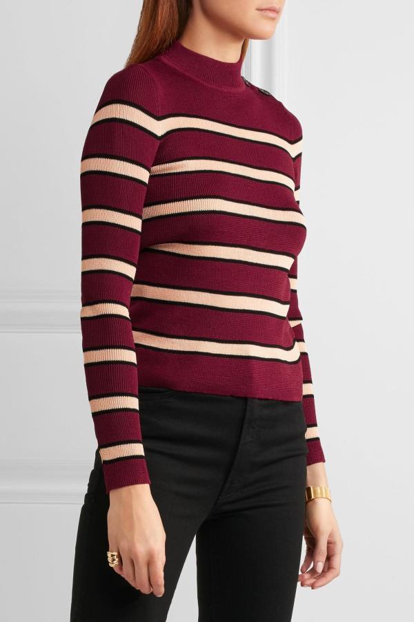 Burgundy Striped Sweater