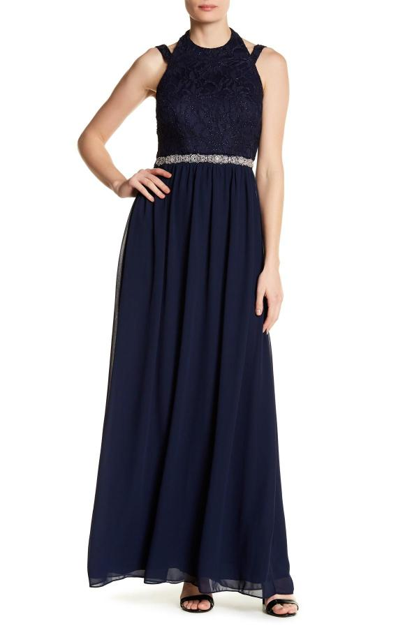 City Triangles Halter Lace Dress With Skirt In Blue Lyst