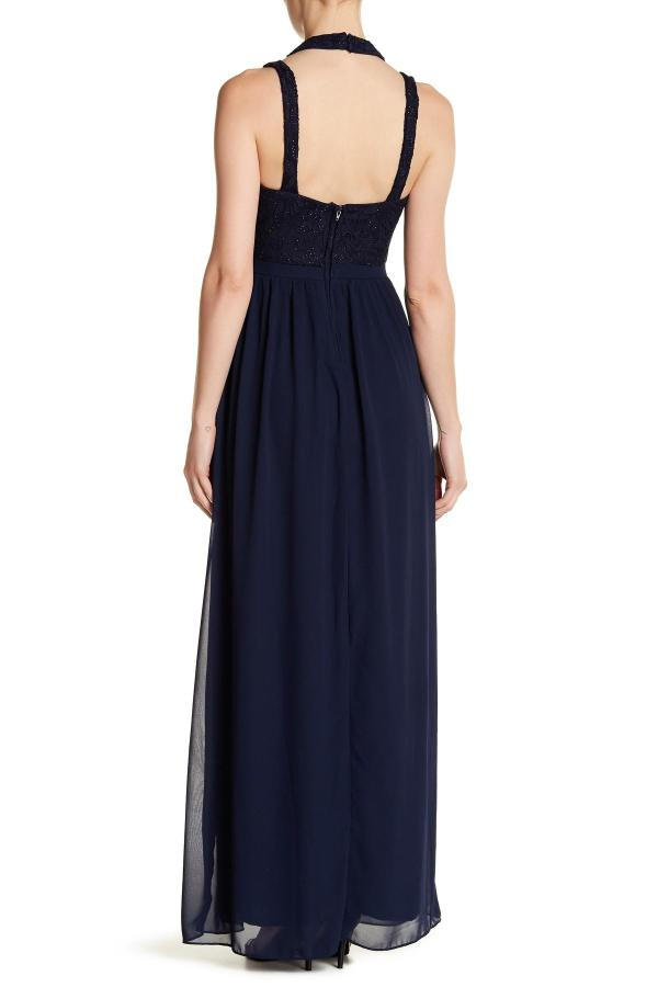 City Triangles Halter Lace Dress With Skirt In Blue - Lyst