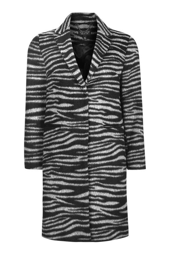 Lyst - Topshop Zebra Print Coat