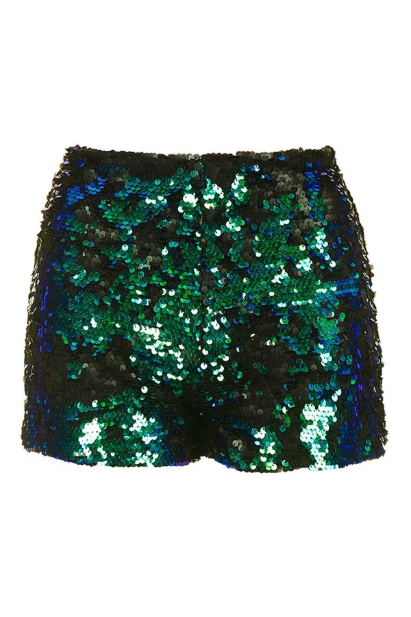 Topshop Sequin Shorts Shine In Green Lyst