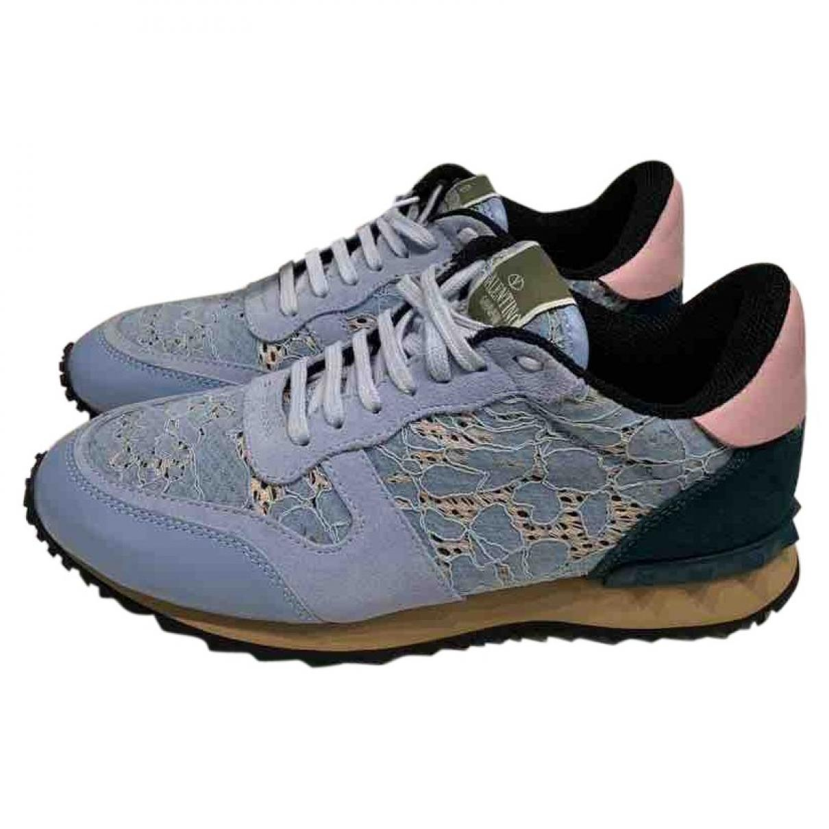 Valentino Pre-owned Rockrunner Blue Cloth Trainers in Blue - Lyst