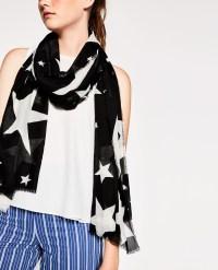 Zara Scarf With Star Print in Black | Lyst