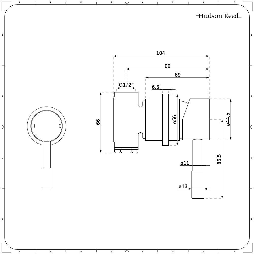 Mezclador de Ducha Manual Moderno Redondo de Una Salida