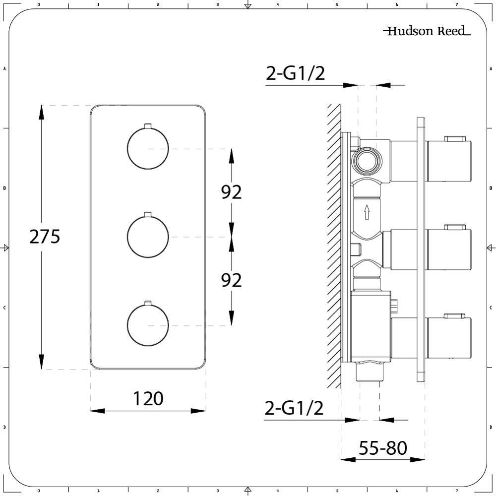Mezclador de Ducha Termostático Triple de 3 Funciones con