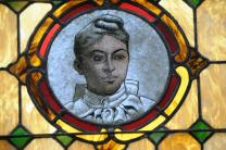 Stained glass window features Shelly Gale, an early deaconess at Mother African Zoar United Methodist Church. Photo by John Coleman.