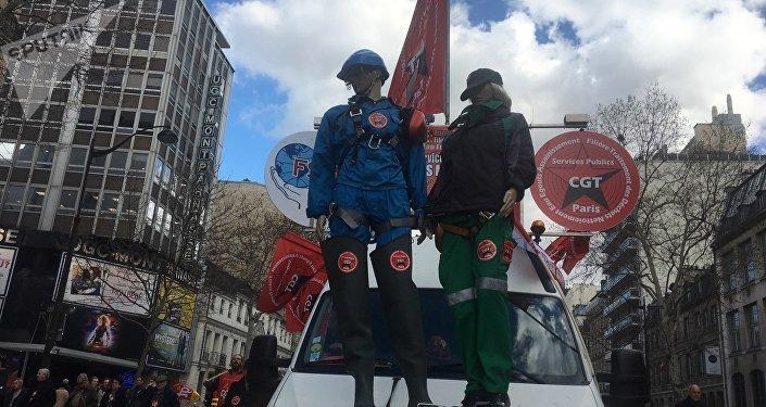 Manifestation syndicale à Paris, 19 mars 2019