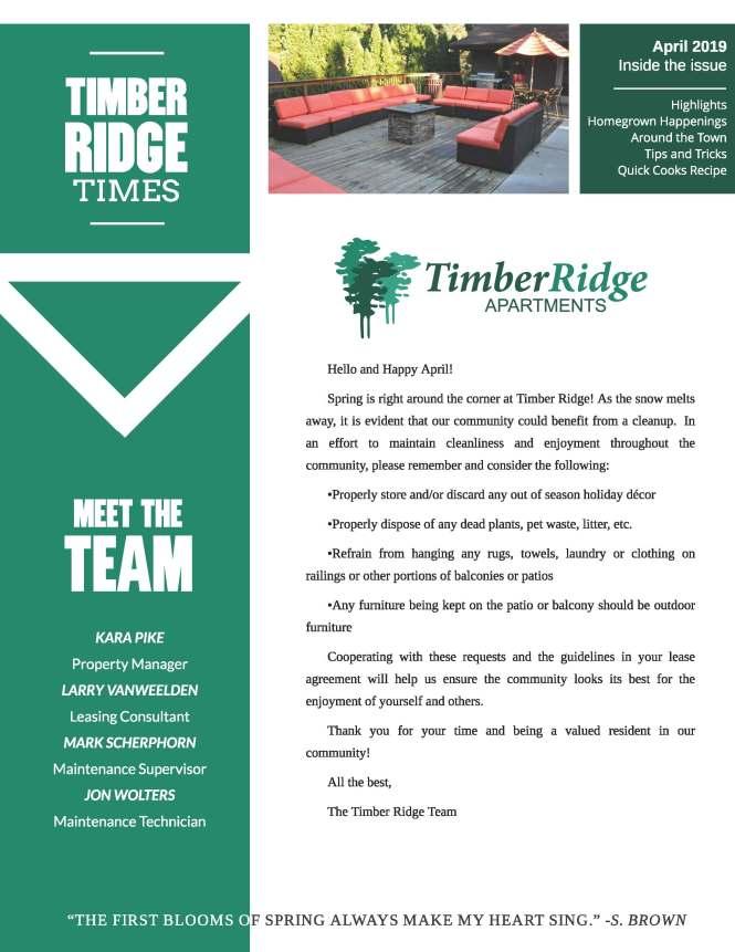 The Timber Ridge Apartments Community
