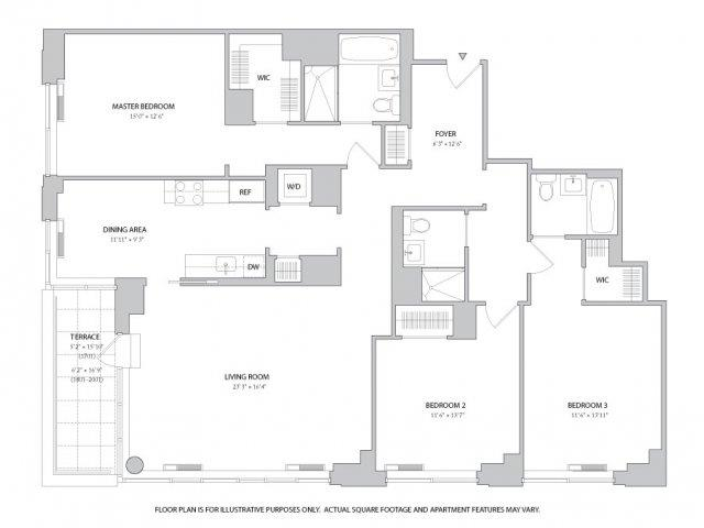 Studio 1 2 3 Bedroom Apartments Floor Plans The Ashley