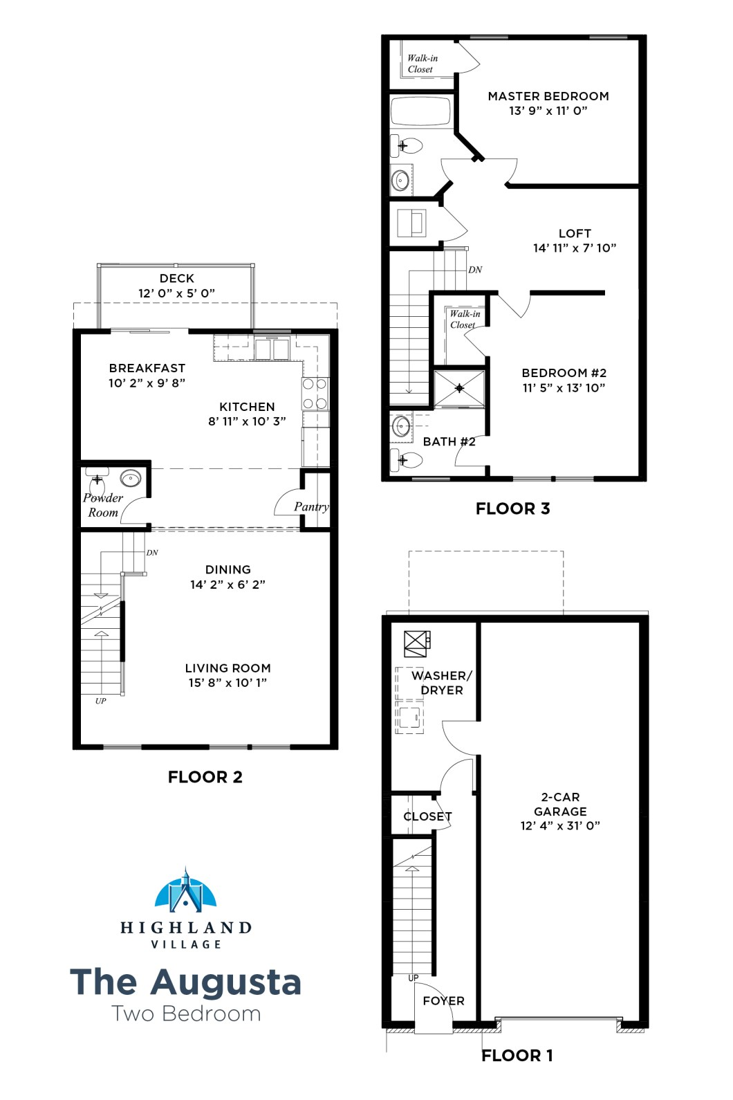 3 Bedroom Townhouse Floor Plans With Garage