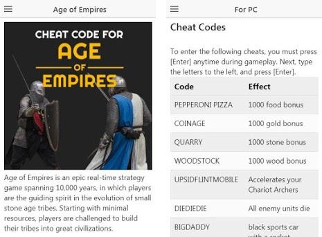 Cheat code for Age of Empires - AOE cheats 1 2 12 apk