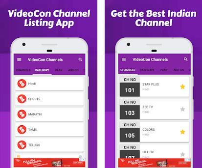 Channel list for Videocon d2h & Videocon Recharge 1 0 5 apk