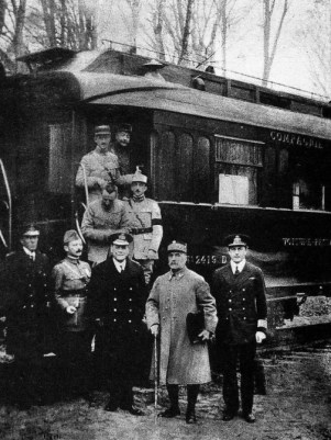 The signing of the Armistice of Compiègne, taken outside French commander Ferdinand Foch's (second from the right) railway carriage.