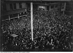 Happy Torontonians flooded the streets once the news got out.