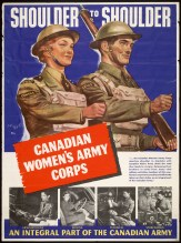 Established in 1941, the Canadian Women's Army Corps (CWAC) was branch of the Canadian Army created to relieve men from non-combatant roles (listed in the poster) in the Canadian armed forces in the hopes of expanding our war effort. Many of the ad campaigns for the CWAC and the women's division of the navy and air force all used the sentiment that the non-combatant roles were just as important as the combatant ones. The CWAC was abolished in 1964 when women were fully integrated into the Canadian armed forces.