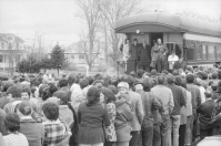 As you can see, campaigning from trains has been popular throughout Canadian history. Here is Pierre Trudeau addressing a crowd during his 'Whistle Stop Tour of the Maritimes' from the 1974 election campaign. He was reelected for a third time, defeating Stanfields's Progressive Conservatives with a majority.