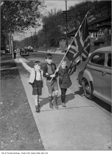 Kids in Toronto celebrate the end of the war on May 8, 1945.
