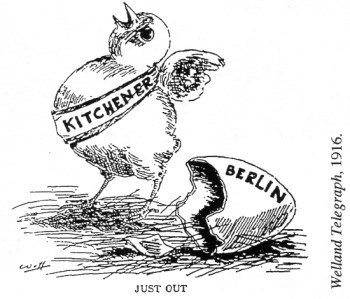 "A baby chick wearing ""Kitchener"" sash hatches from an egg labelled ""Berlin."""