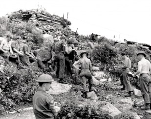 Members of 3rd Battalion, Princess Patricia's Canadian Light Infantry occupy positions on Hill 355.