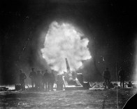 6-inch gun of the Royal Garrison Artillery firing over Vimy Ridge behind Canadian lines at night