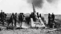 Naval guns fire during the battle at Vimy Ridge