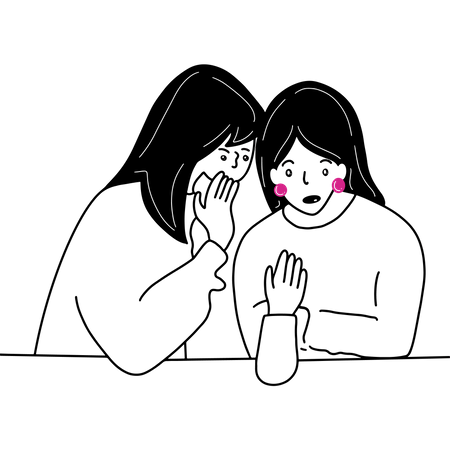 Best Free Two girls gossiping Illustration download in PNG