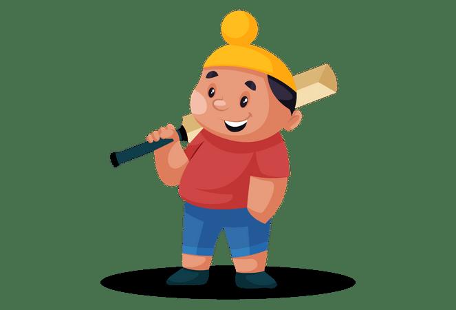 Cricket Bat Png - Premium Punjabi boy is holding a cricket bat on his