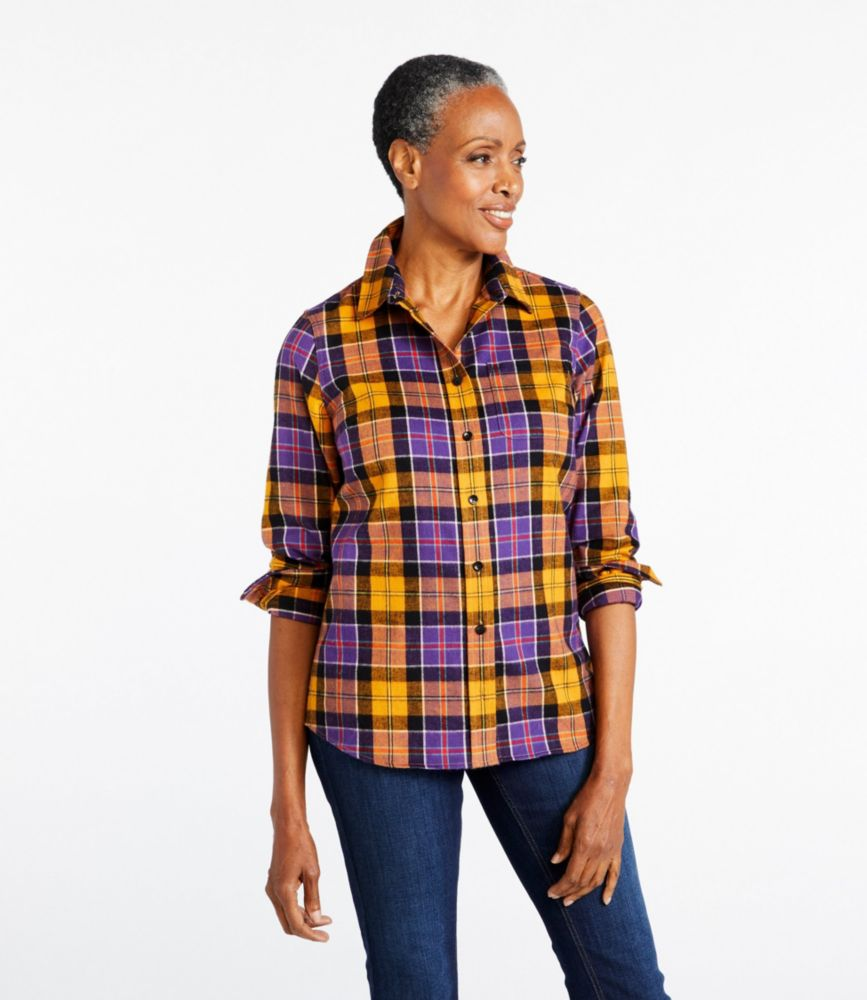 Women' Scotch Plaid Flannel Shirt Slightly Fitted