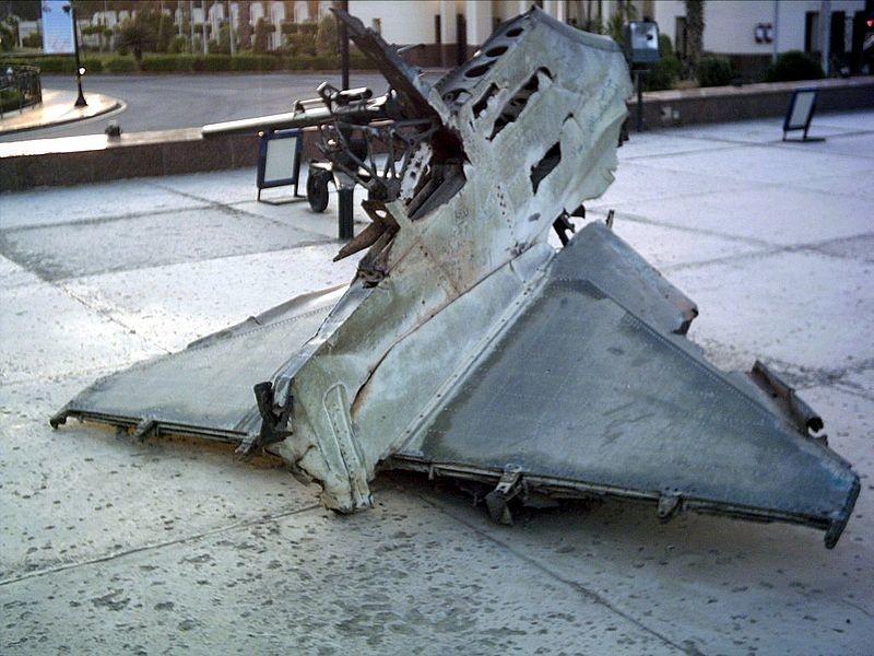 Los restos de un A-4 Skyhawk de la Fuerza Aérea israelí derribado en la guerra de octubre entre Israel y Egipto, no se sabe si este avión fue derribado por un misil SAM o por cazas de la fuerza aérea egipcia.