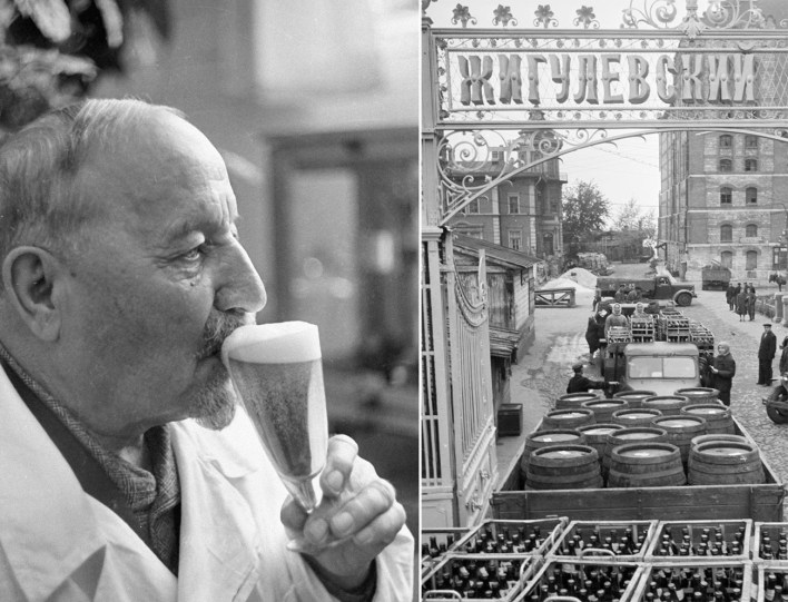 The plant's brewer Alexander Kasyanov and the view of the Zhiguli plant in Soviet times.