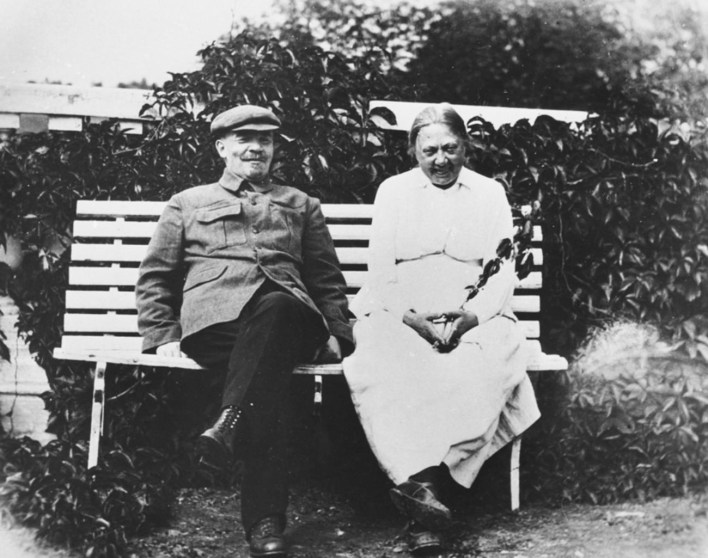 Vladimir Lenin and his wife in their countryside estate.