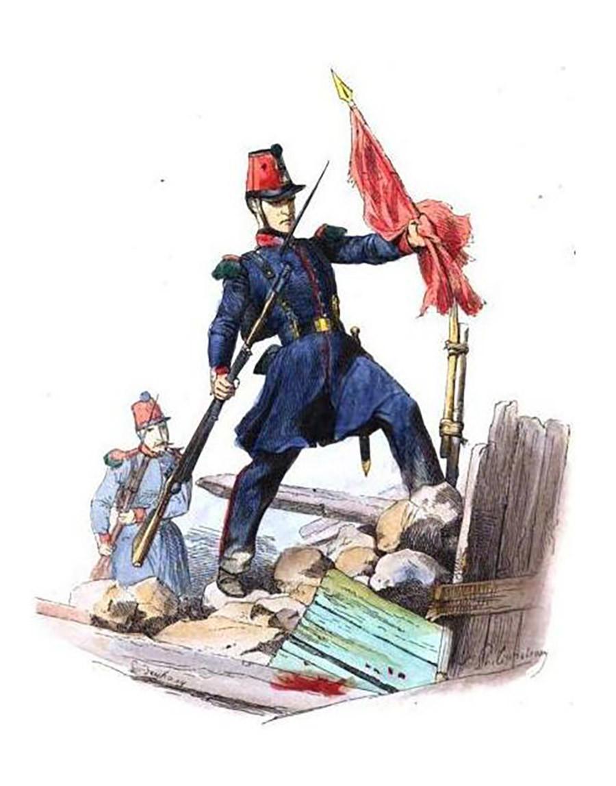 Soldado de la Guardia Nacional francesa Garde derribando una bandera roja durante la Revolución de 1848