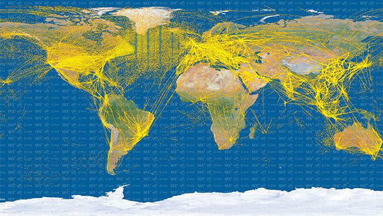 15000 aviones en una imagen un mapa satelital muestra