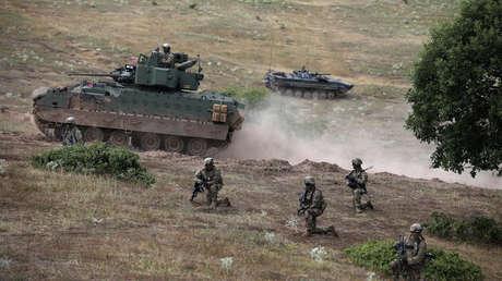 Soldados del ejército de los Estados Unidos durante un ejercicio militar conjunto. 15 de julio de 2017.