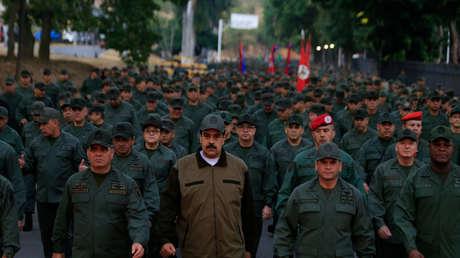 El presidente de Venezuela, Nicolás Maduro, durante una ceremonia en una base militar en Caracas, el 2 de mayo de 2019.