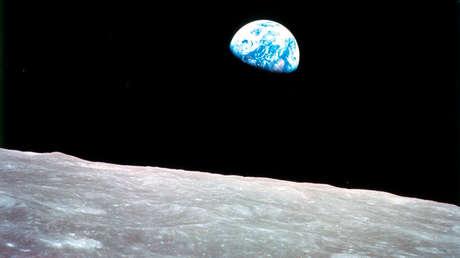 Panorámica parcial de la tierra vista desde la luna.