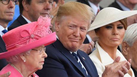 La reina Isabel II, el presidente de EE.UU., Donald Trump, y la primera dama, Melania Trump, en Portsmouth, Reino Unido, el 5 de junio de 2019.