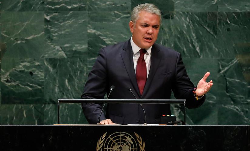 El presidente de Colombia, Iván Duque, en la sede de la ONU en la ciudad de Nueva York, EE. UU., el 25 de septiembre de 2019.