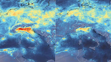 VIDEO: Imágenes desde el espacio muestran la veloz caída de la contaminación en Italia mientras empeora el brote de covid-19