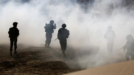 Israelische Soldaten des Aufklärungsbataillons Desert Reconnaissance während einer Übung in der Nähe von Kissufim im Süden Israels.