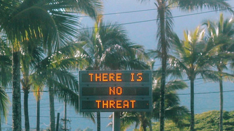 An electronic sign reads