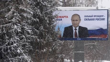 A campaign poster in support of Russian President Vladimir Putin in Novosibirsk.    © Alexandr Kryazhev