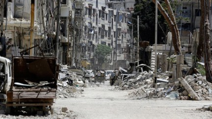 A destroyed street in Douma in Eastern Ghouta on April 16, 2018 © Louai Beshara