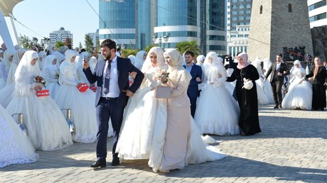 199 couples got married in a park on the 199th anniversary of the Chechen capital  Grozny © Said Tzarnaev