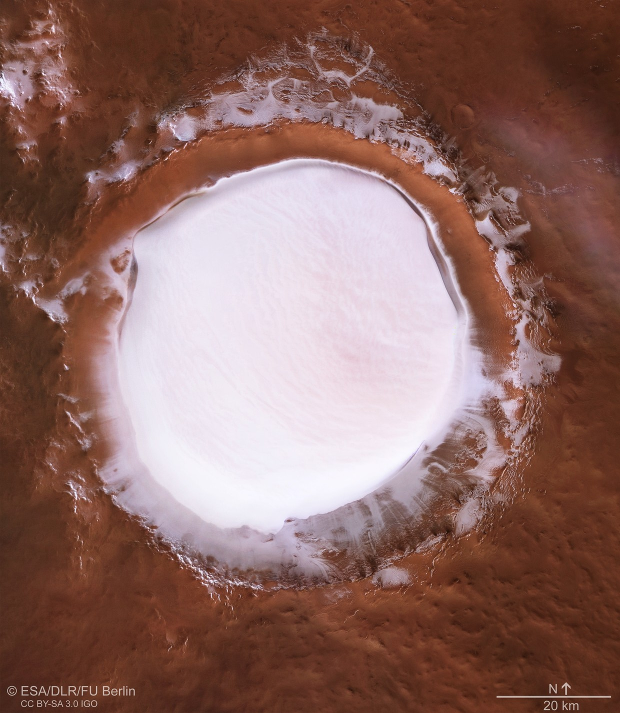 Imagini pentru WATER ON MARS PICTURED: ESA SHARES INCREDIBLE IMAGES OF MARTIAN ICE CRATER