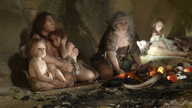 An exhibit shows the life of a neanderthal family in a cave. © Reuters / Nikola Solic