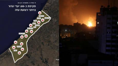5c8b37f0fc7e93df438b460a Israel hit 100 'terror targets' in Gaza in response to rocket attacks – IDF